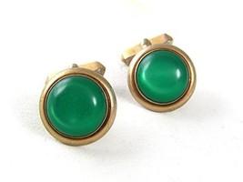 Vintage Goldtone & Green Cufflinks By SWANK 6217 - $24.74