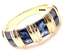 Authentic! Cartier 18k Yellow Gold Sapphire Band Ring Size 52 US 6 - $3,200.00