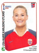 2019 Panini FIFA Women's World Cup France Sticker #80 Lisa-Marie Karlseng Utland - $2.95