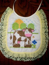 "Bib Handcrafted XStitched - Decorated & Backed ""DOWN ON THE FARM"" matche... - $19.99"