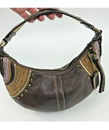 Coach Brown Leather Suede Studs Hobo Hippie Braided Strap G0769-F10477 - $64.34