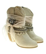 BKE Not Rated Tootsie Sz 7 Beige Western Ankle Boots Rhinestone Mesh Emb... - $38.60