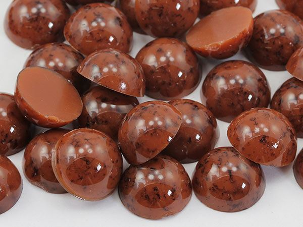 13mm Brown H617 Round Marble Cabochon High Quality 30PCS