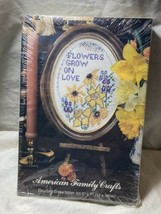 """American Family Crafts Counted Cross Stitch Kit """"Flowers Grow In Love"""" N... - $11.87"""