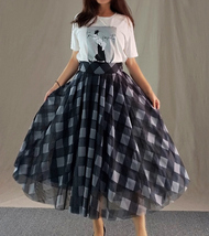 Fall Red Plaid Skirt Outfit Red Plaid Long Tulle Skirt High Waisted Plaid Skirt  image 8