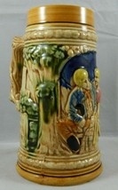 Vtg 7in. Mid-Century Decorative Ceramic German-Style Beer Stein Couple M... - $12.73