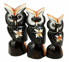Balinese Wood Handicrafts Star Flower Night Owl Family Set of 3 Figurine... - $21.99
