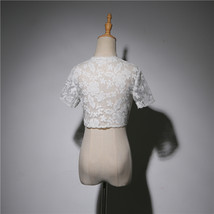 White Lace Wedding Cover Ups Retro Style Bridal Shrugs Boleros Pearl deco Plus  image 4