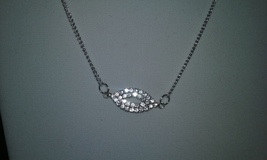 Artisan Handmade Elegant Oval Clear Crystal Pendant On Silver Chain Neck... - $14.99