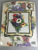 Candamar Designs Victorian Poppy Pillow Needlepoint Kit 30900 NEW Made in USA - $46.01