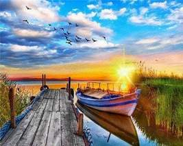 Boat by Dock at Sunset Paint By Numbers Kit - $29.99