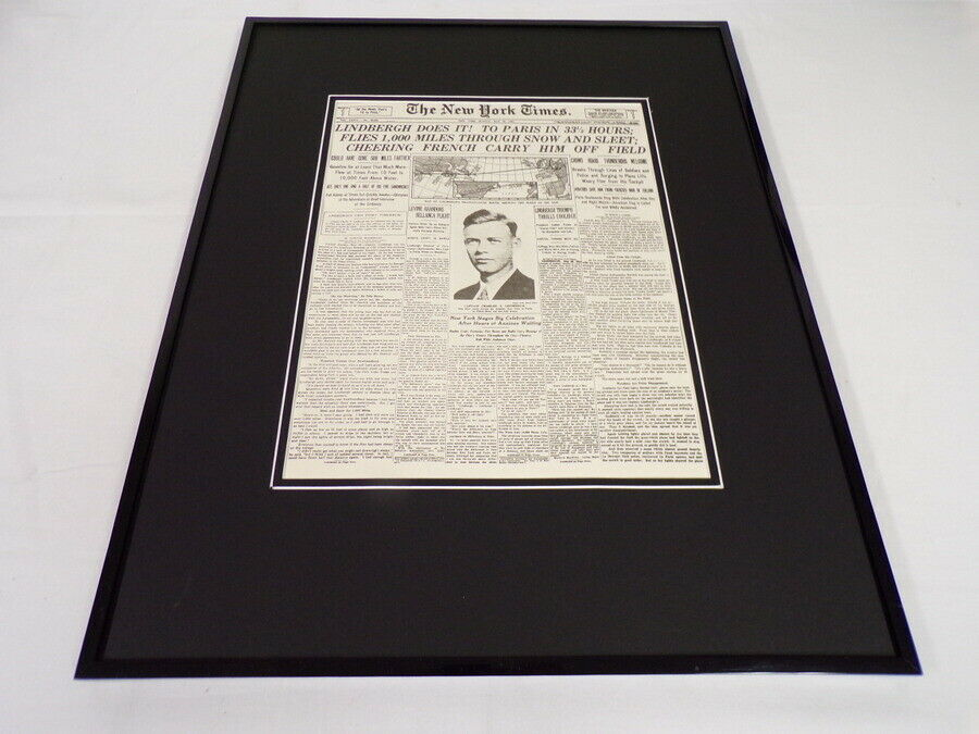 Primary image for New York Times May 22 1927 Framed 16x20 Front Page Poster Charles Lindbergh