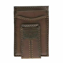 Levi's Men's Two Horses Logo Magnetic Card Case With Clip Brown Wallet image 2