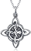 925 Sterling Silver Celtic Triquetra Trinity Knot Good Luck Pendant Neck... - $44.56