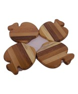 Apple Coasters (set of 4) Handcrafted from Mixed Hardwoods - $18.00