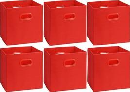 Shabby Chic Style Eye Catching Set of 6 Red Foldable Storage Bins ORGANI... - £30.08 GBP