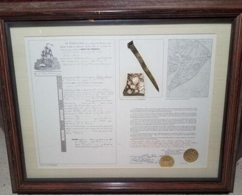 Framed 1854 Shipwreck Artifact Souvenir Delia Marie Hilton Head Brass Spike