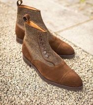 Handmade Men's Brown Suede And Tweed Two Tone Buttons Boots image 5
