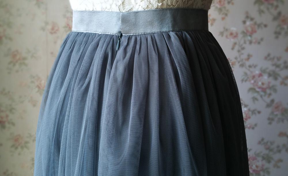 Dark gray wedding maxi tulle skirt 8