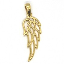 SOLID 18K YELLOW GOLD PENDANT MEDAL, STYLIZED ANGEL WING, WINGS, MADE IN ITALY image 2