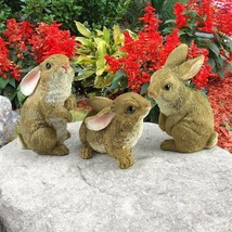 Set of 3 Bunny Den Rabbits Garden Home Animal Statues Easter Ornamental ... - $30.23