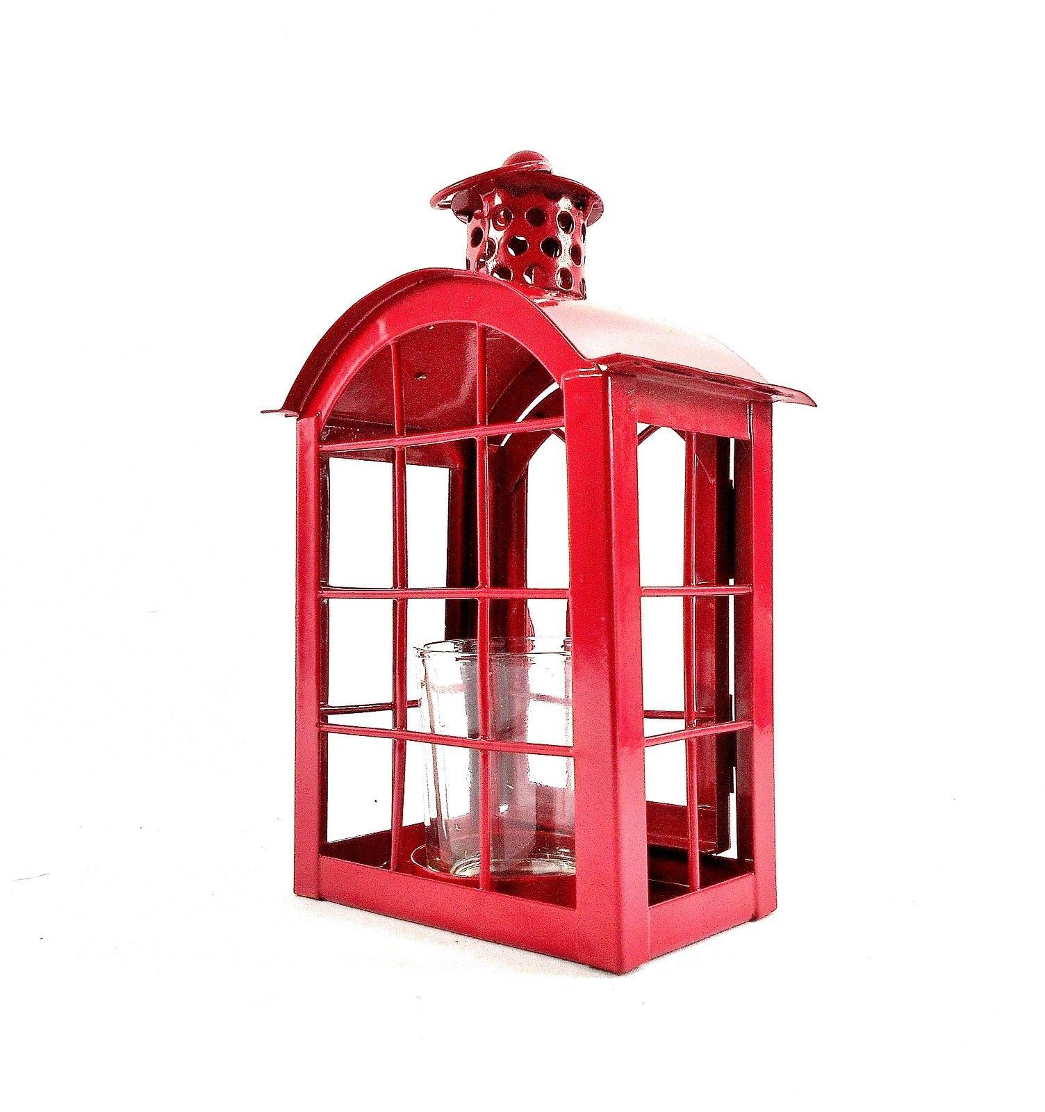Red Metal Votive Candle Lantern w/Glass Candle Cup - Boho-Chic Candle Lantern image 6