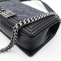 AUTHENTIC CHANEL BLACK Limited Edition Embroidery Leaf Medium Boy Flap Bag image 6