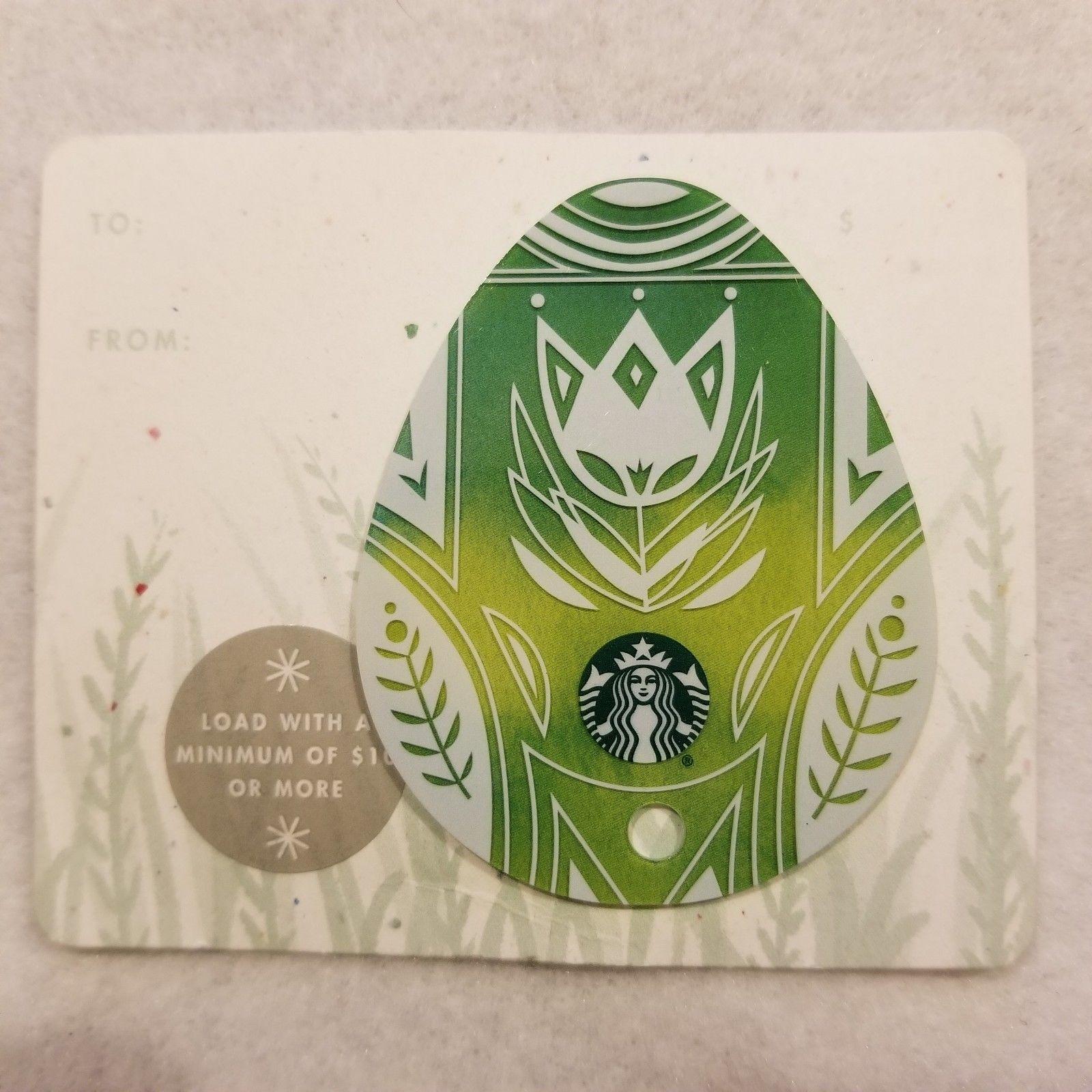 Starbucks Gift Card 2016 Egg Die Cut Green Flower Spring Happy Easter No Value