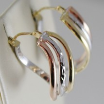 18K YELLOW ROSE WHITE GOLD EARRINGS ALTERNATE WAVES HOOPS 21 MM MADE IN ITALY image 2