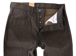 LEVI'S 501 MEN'S SHRINK TO FIT STRAIGHT LEG BROWN DENIM JEANS 501-1894 - 36x32 image 3