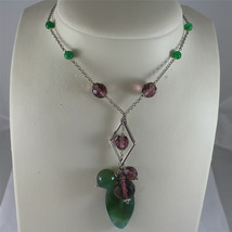 .925 RHODIUM SILVER NECKLACE, GREEN JADE AND FACETED PURPLE CRYSTALS. image 2