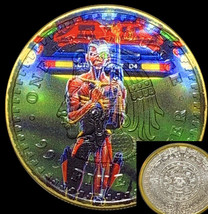 Iron Maiden Eddie In Time Aztec Calendar Silver Ounce with 24k Gold & Ca... - $66.39