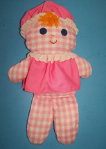 Vintage Fisher Price 1975 LOLLY DOLLY RATTLE Doll #420 Pink & White Ging... - $34.60