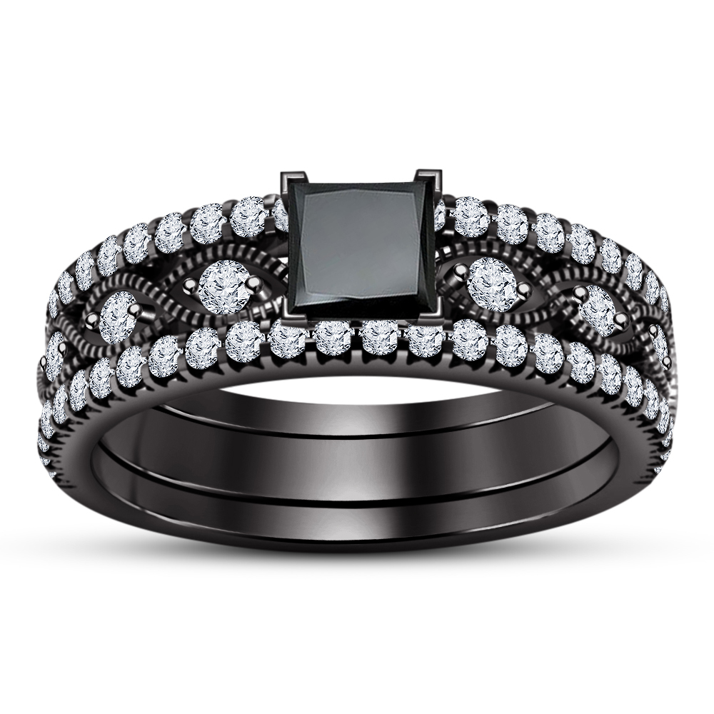 Primary image for Women's Princess Black Cz 925 Silver Black Fn. Engagement Wedding Trio Ring Set