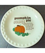Ceramic Stoneware Pumpkin Pie Recipe Pumpkin Pie Pan Plate Thanksgiving ... - $16.42
