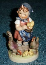 """Feeding Time"" Goebel Hummel Figurine #199/0 TMK5 - Little Girl Feeding ... - $116.39"