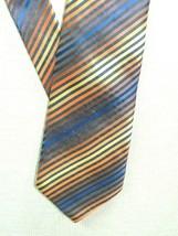 """Giorgio Armani Italy Neck Tie/Necktie Silk Orange Brown Blue stripes 60""""x3.75"""" - $40.49"""