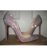 Sparkle Wedding Shoes Pointed Toe Heels Red Bottom swarovski Crysal Bride Heels - $179.00