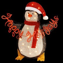 29 in Pre Lit Tinsel Penguin Home Holiday Christmas Outdoor Yard Decorat... - $69.89