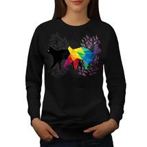 Cat Contrast Prism Jumper Animal Form Women Sweatshirt - $18.99