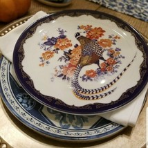 Williams Sonoma Set 4 Fleur Bird Salad Plates Navy Blue 8.5D Floral  - $53.79