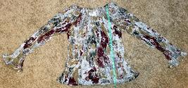 Dress-U Long Sleeve Multicolor Flower Off-shoulder Crinkled Pleated Top Blouse L image 4