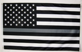 Thin Gray Or Silver Line Correction Officers USA Memorial Flag 3' X 5' I... - $9.95
