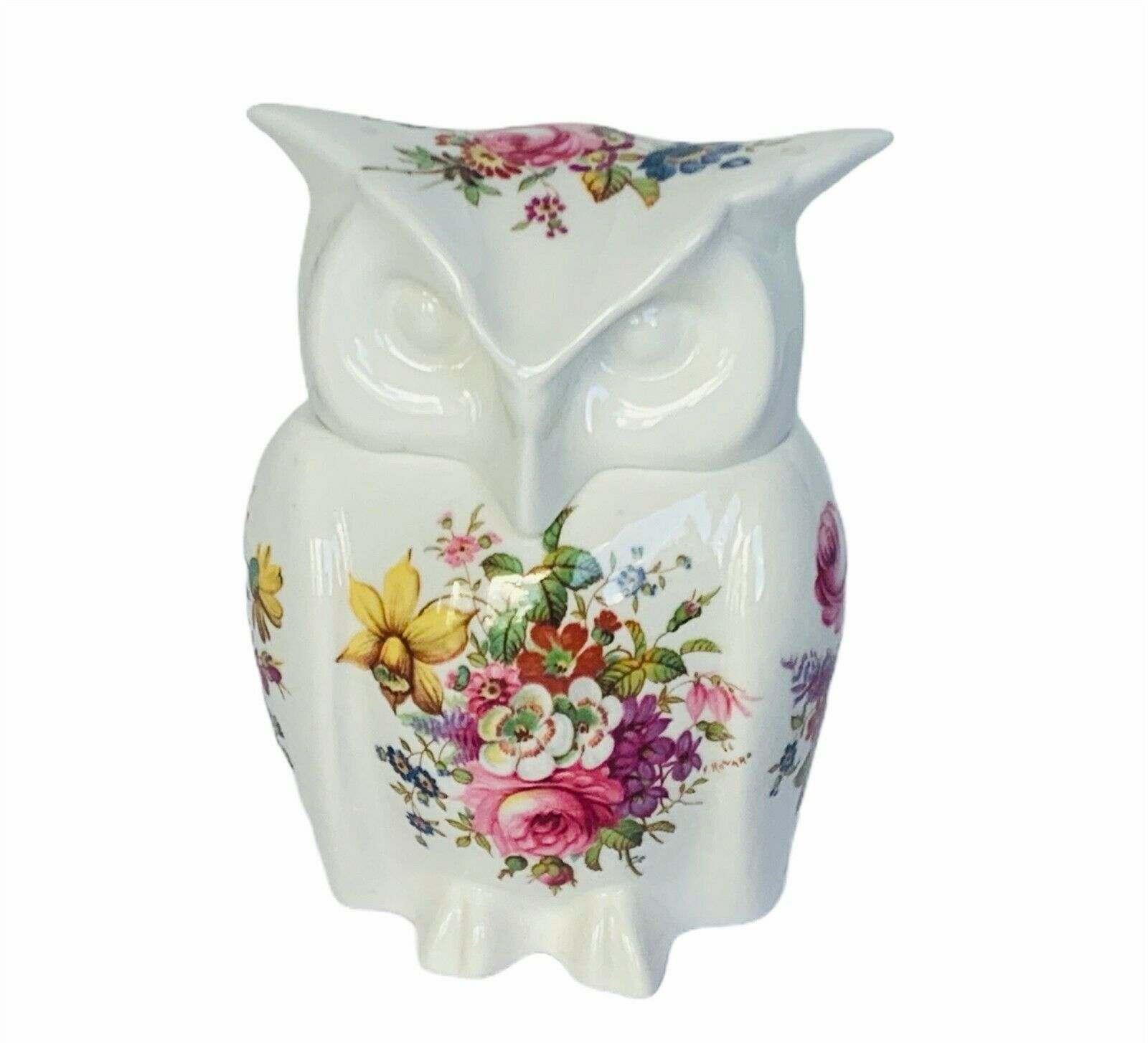 Primary image for Owl figurine vtg sculpture Hammersley England floral box lid roses daisy spring