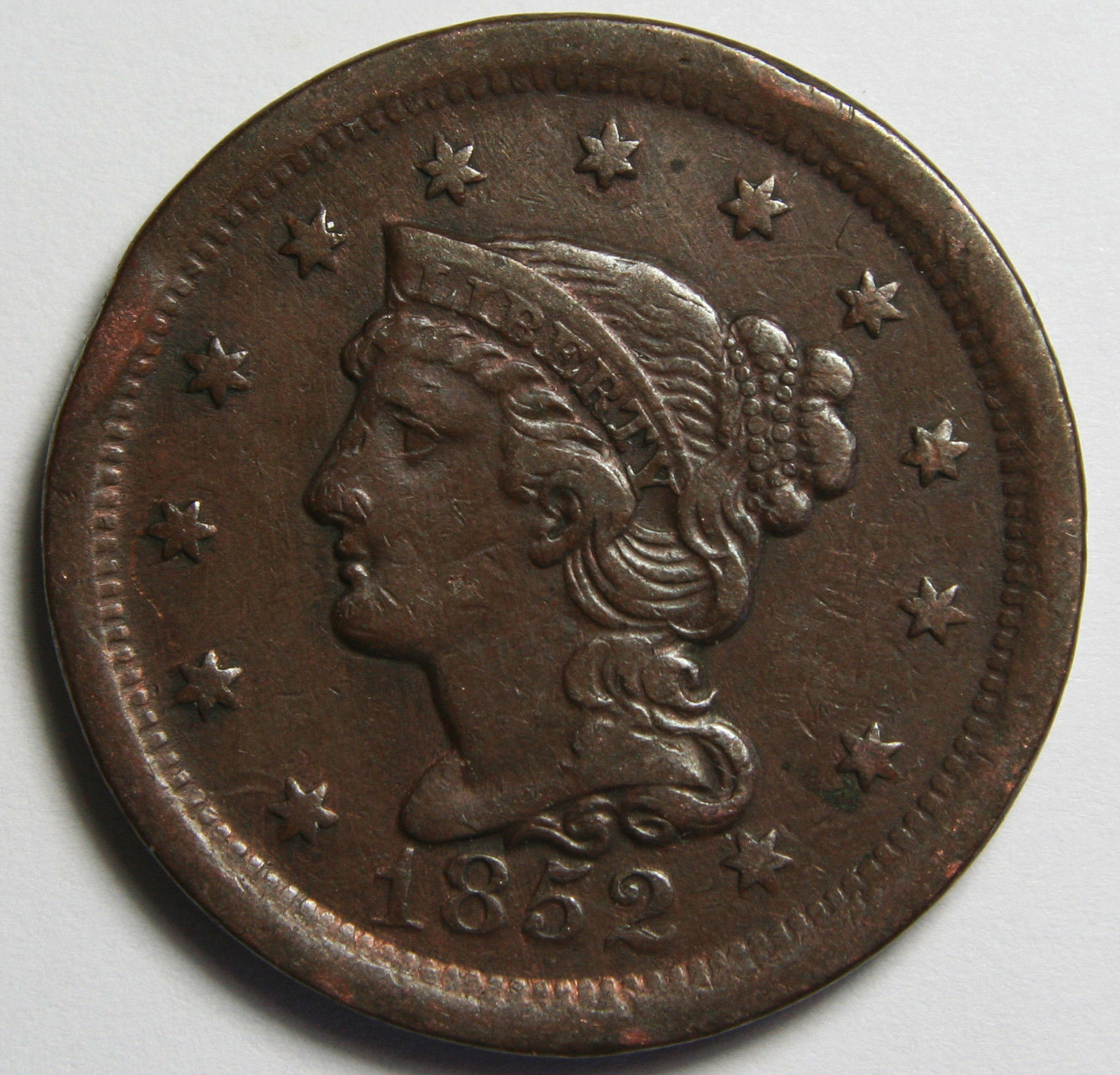 1852 Large Cent Liberty Braided Hair Head Coin Lot # MZ 4101
