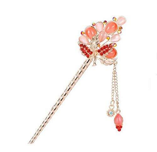 Classical Style Bead Hairpin Metal Rhinestones Hair Decoration, Red