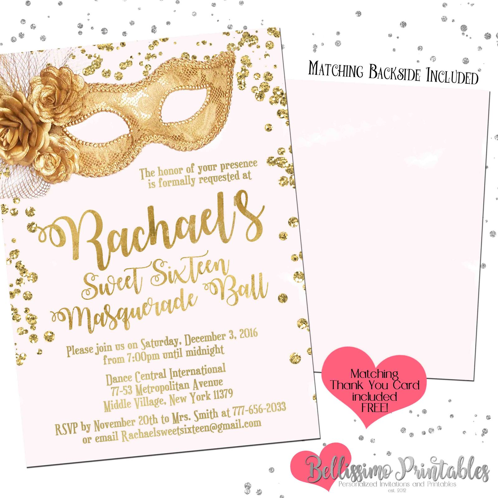 graphic about Free Printable Masquerade Invitations titled Masquerade Crimson Gold Glitter Birthday and comparable solutions