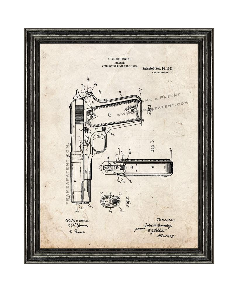 Primary image for Colt 1911 Gun Patent Print Old Look with Black Wood Frame