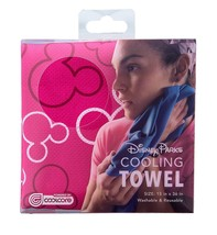 Disney Parks Mickey Mouse Pink Icon Cooling Towel By Coolcore New with Box - $21.55