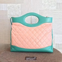 NEW AUTH CHANEL 2019 RUNWAY QUILTED LAMBSKIN 2-WAY SHOPPING BAG PINK TURQUOISE  image 4